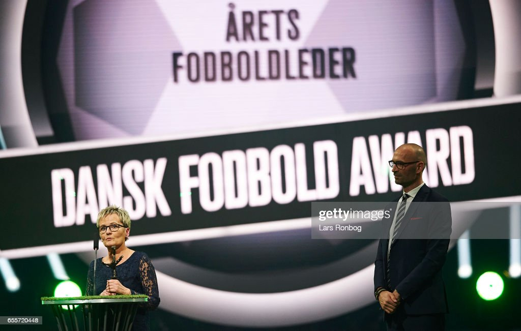 Mette Lykke Jensen of Frerritslev IF receives the Volunteer of the Year award during the Danish Football Award Show at Forum Horsens on March 20, 2017 in Horsens, Denmark.