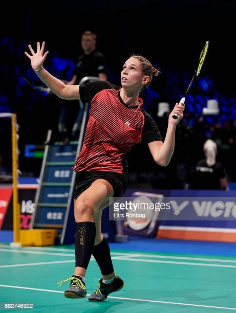 Mette Poulsen of Denmark in action during the day one at the DANISA Denmark Open Badminton tournament at Odense Idratshal on October 18 2017 in...
