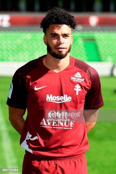 FC Metz' French forward Emmanuel Riviere poses for the French L1 20172018 football season official portrait on September 21 2017 at SaintSymphorien...