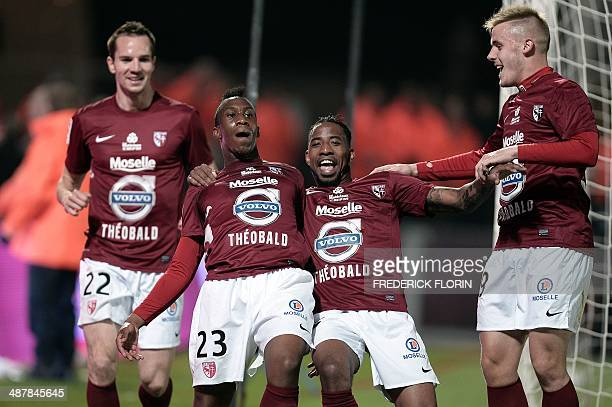 Metz' players jubilate during the French L2 football match Metz vs Tours on May 02 2014 at the SaintSymphorien stadium in LongevillelesMetz eastern...