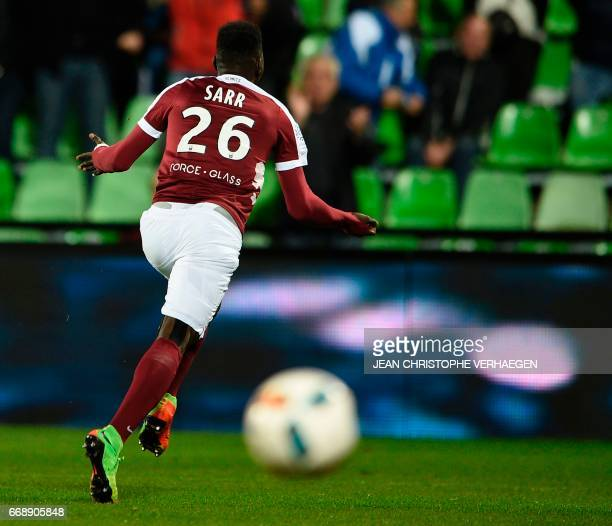 Metz' Senegalese midfielder Ismaila Sarr celebrates after scoring a goal during the French L1 football match between Metz and Caen on April 15 2017...
