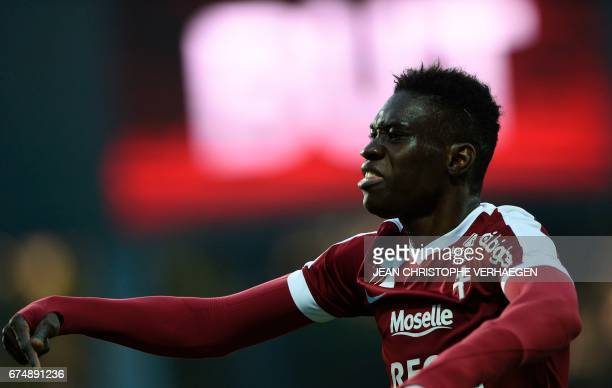 Metz' Senegalese midfielder Ismaila Sarr celebrates after scoring during the French L1 football match between Metz and Nancy on April 29 2017 at the...