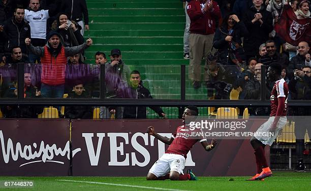 Metz's Cameroonian midfielder Georges Mandjeck celebrates after scoring a goal during the French L1 football match between Metz and Nice on October...