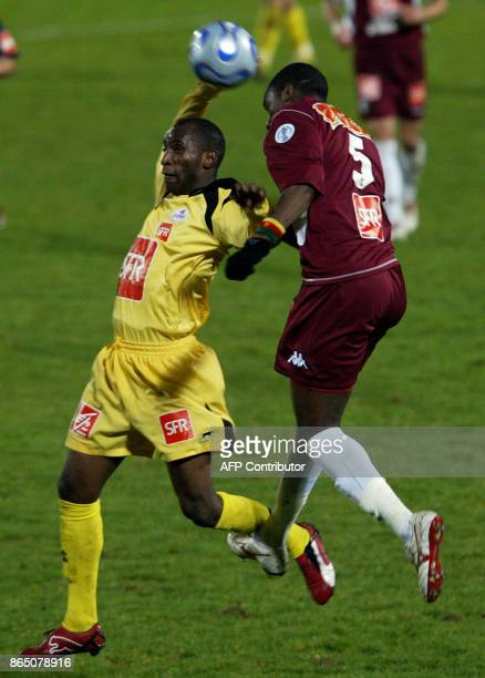 Metz's Sebastien Bassong fights for the ball with Lille' s Souleymane Youla during their French Cup football match Metz vs Lille 06 January 2007 at...