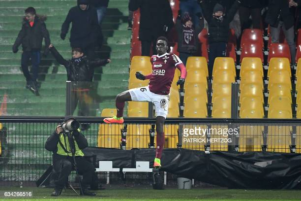 Metz's Senegalese midfielder Ismaila Sarr celebrates after scoring a goal during the French L1 football match between Metz and Dijon FCO at the Saint...