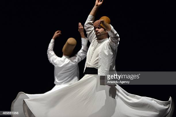 'Mevlevi Sema' ceremony is performed by 'Galata Mevlevi Ensemble' at Brancaccio Theatre in Rome Italy on April 15 2015 Mevlevi whirling is a form of...
