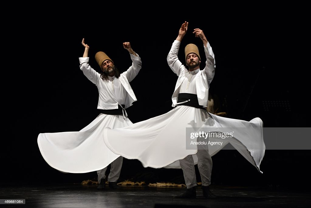 'Mevlevi Sema' ceremony is performed by 'Galata Mevlevi Ensemble' at Brancaccio Theatre in Rome, Italy on April 15, 2015. Mevlevi whirling is a form of physically and active meditation which originated among Sufis.