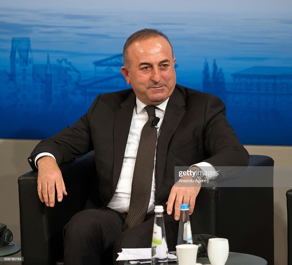 Mevlut Cavusoglu, Minister of Foreign Affairs of Turkey attends the 2016 Munich Security Conference at the Bayerischer Hof hotel on February 12, 2016 in Munich, Germany. The annual event brings together government representatives and security experts from across the globe and this year the conflict in Syria will be the main issue under discussion.