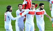 Mevlut Erdinc and Olcay Sahan celebrate after scoring a goal during international friendly football match between Luxembourg and Turkey at Josy...