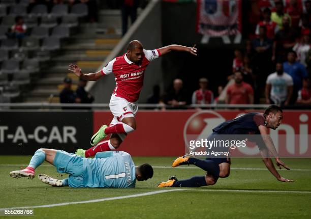 Mevlut Erdinc of Medipol Basaksehir in action against Matheus Lima and Raul Silva of Sporting Braga during the UEFA Europa League Group C match...