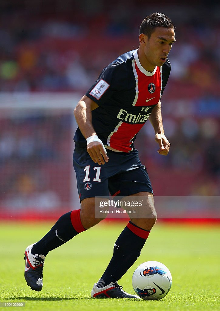 Mevlut Erdinc of Paris St Germain with the ball during the Emirates Cup match between New York Red Bulls and Paris St Germain at the Emirates Stadium on July 30, 2011 in London, England.