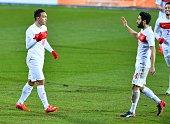 Mevlut Erdinc of Turkey celebrates after scoring a goal during international friendly football match between Luxembourg and Turkey at Josy Barthel...