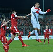 Mevlut Erdinc of Turkey in action during international friendly football match between Luxembourg and Turkey at Josy Barthel Stadium in Luxembourg on...
