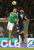 Mevlut Erding of SaintEtienne and Adrien Rabiot of PSG in action during the French Cup semifinal match between Paris SaintGermain FC and AS...