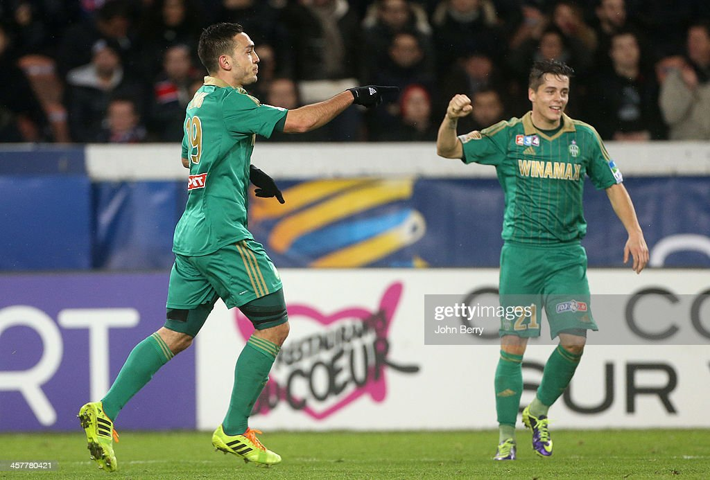 Mevlut Erding of Saint-Etienne celebrates his goal with Romain Hamouma during the french Ligue Cup match between Paris Saint-Germain FC and AS Saint-Etienne, ASSE, at the Parc des Princes stadium on December 18, 2013 in Paris, France.