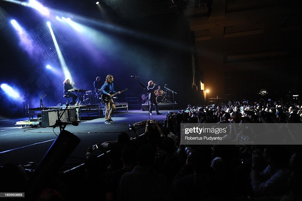 Mew rock band performs at the annual Guinness Arthur's Day at JIEXPO Kemayoran on October 26, 2013 in Jakarta, Indonesia. Arthur's Day sees fans come together to experience live music and cultural events all over the world in celebration of Arthur Guinness, the founder of Guinness brewing.