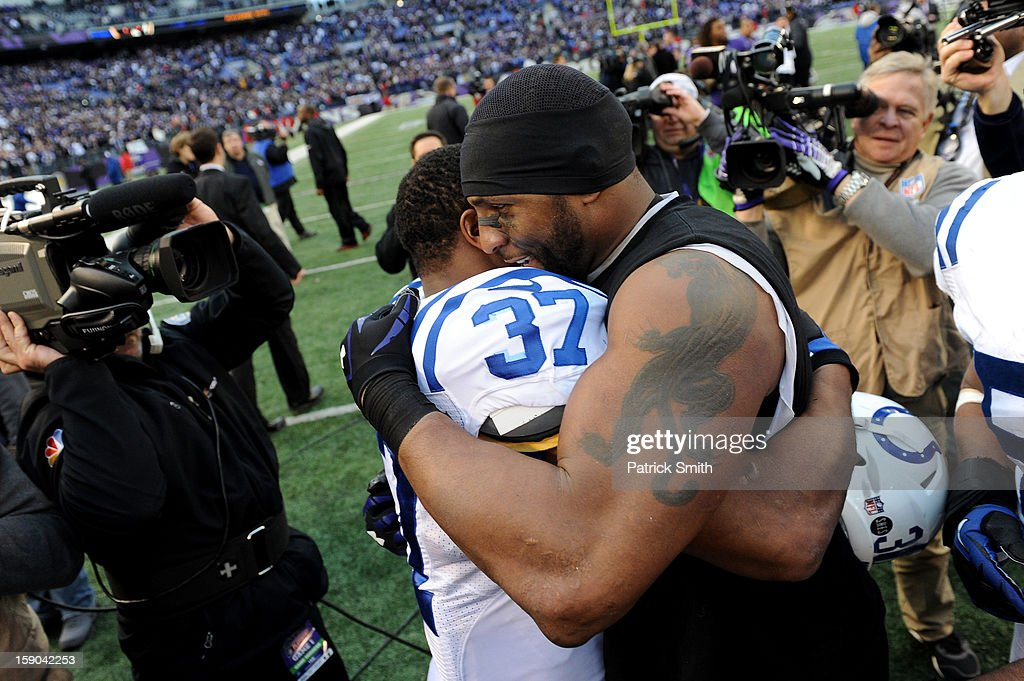 Mewelde Moore #37 of the Indianapolis Colts congratulates Ray Lewis #52 of the Baltimore Ravens after the Ravens won 24-9 during the AFC Wild Card Playoff Game at M&T Bank Stadium on January 6, 2013 in Baltimore, Maryland.