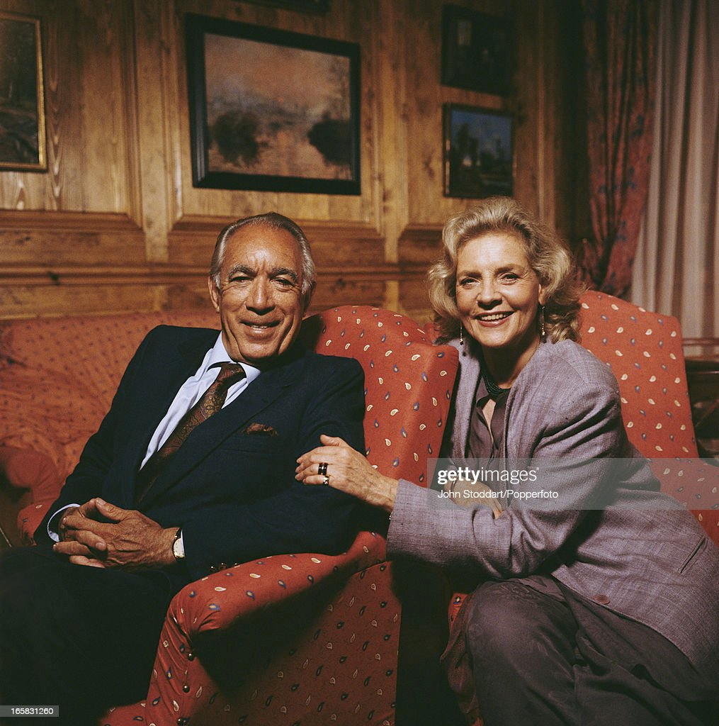 Mexican actor Anthony Quinn (1915 - 2001) and American actress Lauren Bacall, 1991. They are co-starring in the 1991 film 'A Star For Two'.