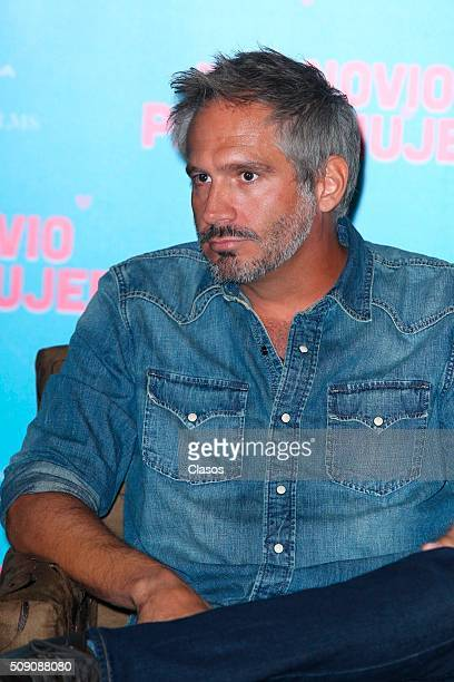 Mexican actor Arath de la Torre poses for pictures during a press conference of the film 'Busco novio para mi mujer' at Universidad square on...