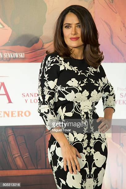 Mexican actress and producer Salma Hayek poses for pictures during the press conference to promote the animated film 'El Profeta' at Hotel St Regis...