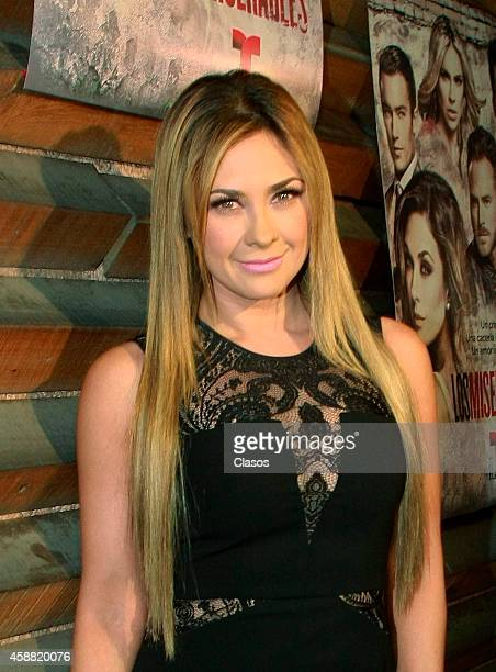 Mexican actress Aracely Arambula attends to the red carpet of the new soap opera 'Los Miserables' on November 11 2014 in Mexico City Mexico