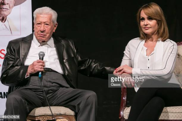 Mexican actress Gaby Spanic and Mexican actor Ignacio Lopez Tarso speak during the press conference to announce the play 'Un Picasso' at Rafael...