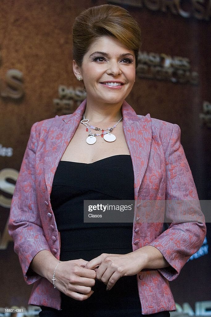 Mexican actress Itati Cantoral poses during the presentation of the new television series Dangerous Passions on May 8, 2013 in Mexico City, Mexico.