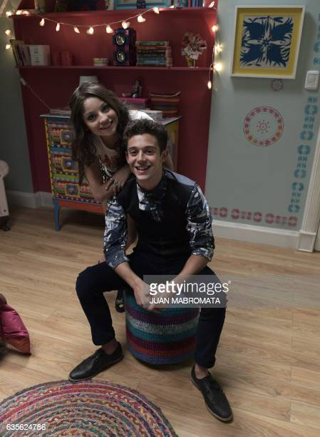 CORRECTION Mexican actress Karol Sevilla and Italian actor Ruggero Pasquarelli speak with AFP during an interview on a set of the Disney TV Series...