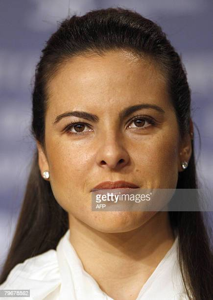 Mexican actress Kate del Castillo addresses a press conference about the movie 'Julia' by French director Erick Zonca and presented in competition...