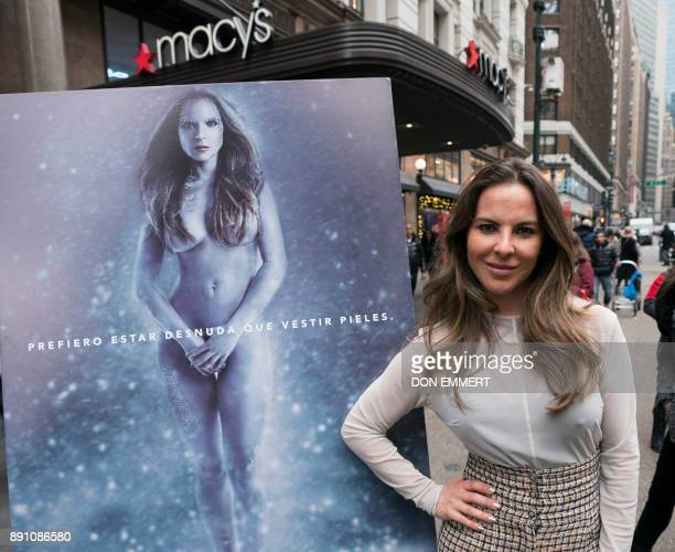 Mexican actress Kate del Castillo poses for the unveiling of her new holiday shopping campaign for PETA that proclaims 'I'd Rather Go Naked Than Wear...