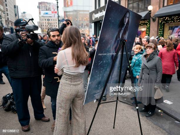 Mexican actress Kate del Castillo speaks to the media at the unveiling of her new holiday shopping campaign for PETA that proclaims 'I'd Rather Go...