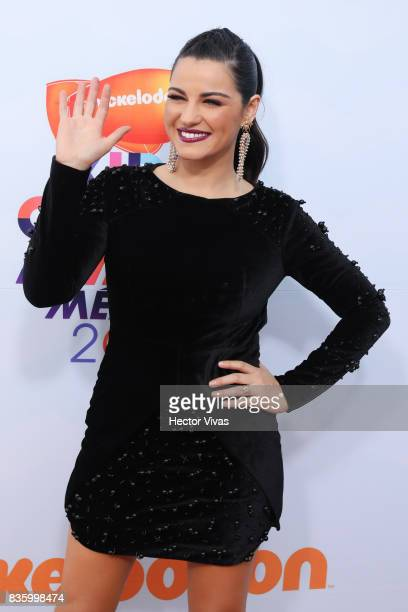Mexican actress Maite Perroni poses for pictures during the Kids Choice Awards Mexico 2017 Orange Carpet at Auditorio Nacional on August 19 2017 in...