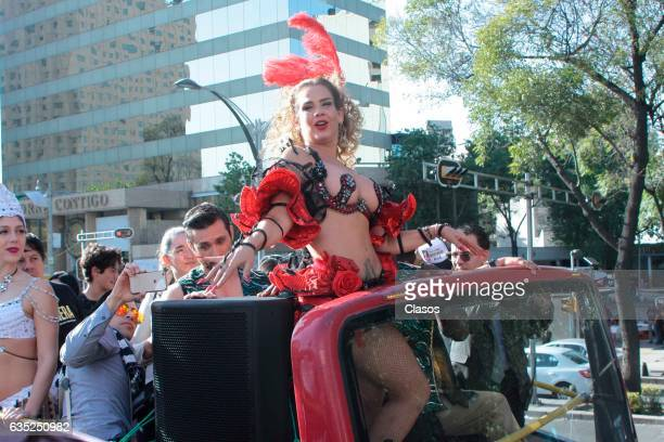 Mexican Actress Niurka Marcos rides around the city in a touristic bus promoting the play Aventura on February 09 2017 in Mexico City Mexico