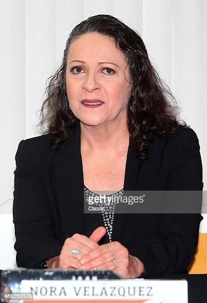 Mexican actress Nora Velazquez speaks during 'La Calle de la Amargura' film press conference at Instituto Mexicano De Cinematografia on August 31...