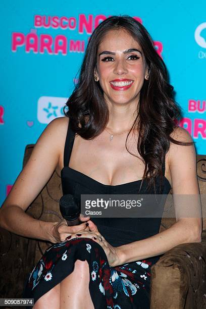Mexican actress Sandra Echeverria poses for pictures during a press conference of the film 'Busco novio para mi mujer' at Universidad square on...