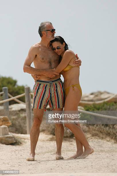 Mexican Adriana Abascal and her boyfriend french businessman Emmanuel Schreder are seen on July 26 2012 in Ibiza Spain