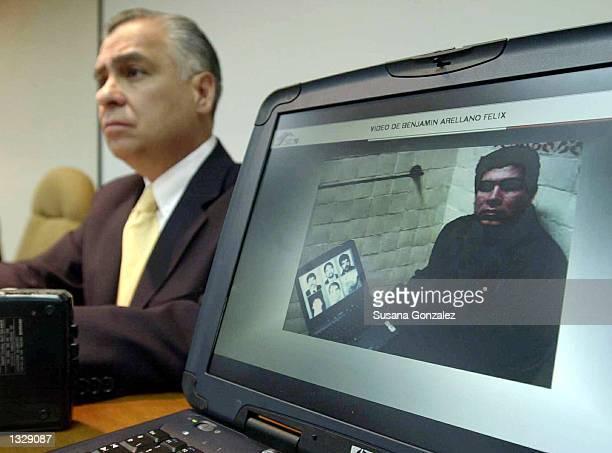 Mexican Attorney General Rafael Macedo de la Concha announces the capture of Benjamin Arrellano Felex March 9 2002 in Mexico City Reputed head of the...