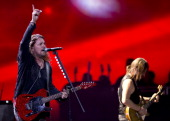 Mexican band Mana's Fernando Olvera performs during the 54th Vina del Mar International Song Festival on February 24 2013 in Vina del Mar Chile AFP...