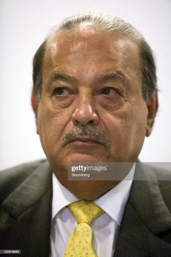 Mexican billionaire <a gi-track='captionPersonalityLinkClicked' href=/galleries/search?phrase=Carlos+Slim&family=editorial&specificpeople=584959 ng-click='$event.stopPropagation()'>Carlos Slim</a> listens during a news conference in Mexico City, Mexico, on Thursday, July 15, 2010. Slim's mining outfit Grupo Frisco, a division of holding company Grupo Carso SAB, plans to open more mines this year and acquired one this month after ramping up gold production more than ninefold in 2009. Photographer: David Rochkind/Bloomberg via Getty Images