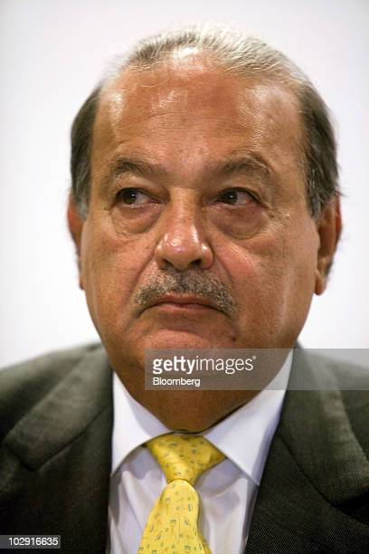 Mexican billionaire Carlos Slim listens during a news conference in Mexico City Mexico on Thursday July 15 2010 Slim's mining outfit Grupo Frisco a...
