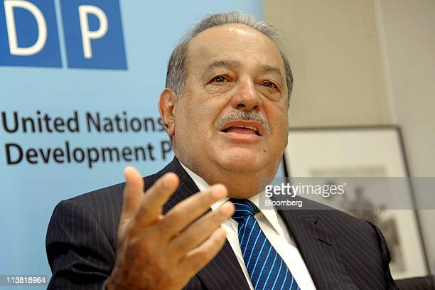 Mexican billionaire Carlos Slim speaks during a United Nations forum in New York US on Friday May 6 2011 Mexico's Supreme Court ruling on phone fees...