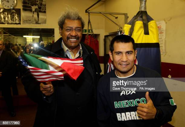 Mexican boxer Marco Antonio Barrera and boxing promoter Don King before a light training session at Shannon's Gym Pennyhill Park Openshaw