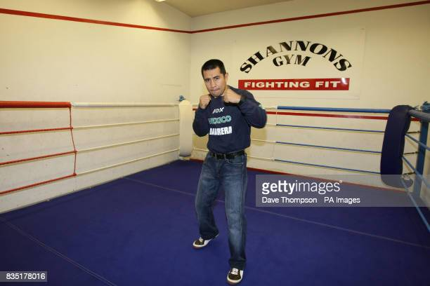 Mexican boxer Marco Antonio Barrera during a light training session at Shannon's Gym Pennyhill Park Openshaw