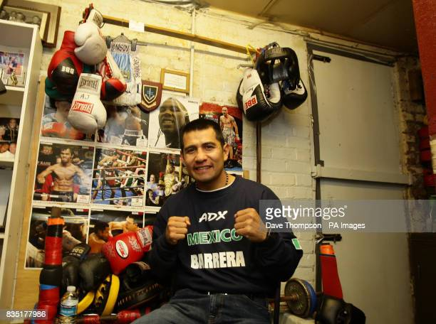 Mexican boxer Marco Antonio Barrera poses for photographers before a light training session at Shannon's Gym Pennyhill Park Openshaw