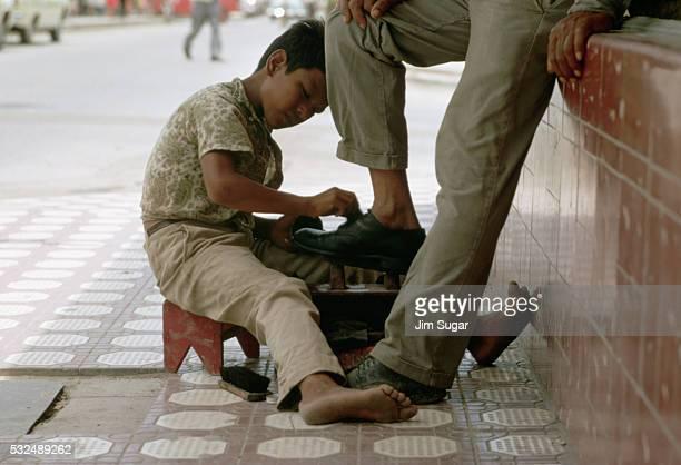Mexican Boy Shining Shoes