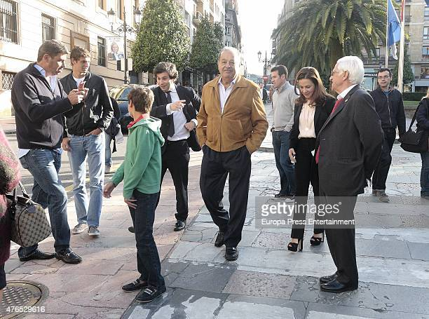 Mexican businessman Carlos Slim and family are seen on May 22 2015 in Oviedo Spain
