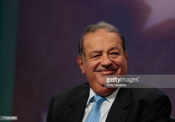 Mexican businessman Carlos Slim Helu one of the world's richest men smiles during a panel discussion about Latin America at the Clinton Global...