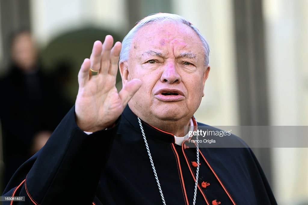 Mexican cardinal Juan Iniguez Sandova arrives at the Paul VI hall for the opening of the Cardinals' Congregations on March 4, 2013 in Vatican City, Vatican.The congregations of cardinals will continue until all cardinal electors have arrived in Rome, whereupon the College will decide on the start-date of the Conclave to elect a new Pope.