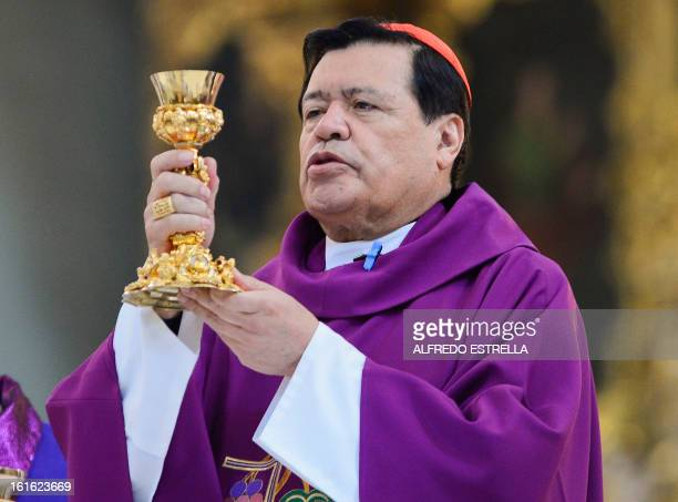 Mexican Cardinal Norberto Rivera officiates a mass for Ash Wednesday opening Lent the fortyday period of abstinence and deprivation for the...