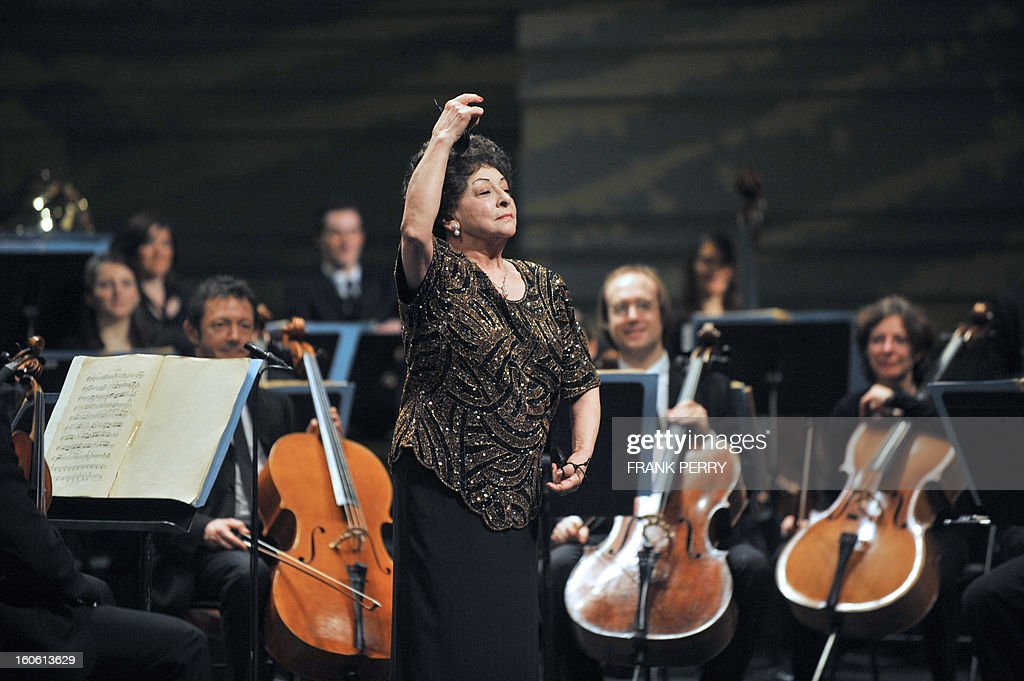 Mexican castanets player Lucero Tena performs during a concert with the Lamoureux orchestra on February 3, 2013, as part of the 'Folle Journee' music festival at the Cite des Congres in Nantes.